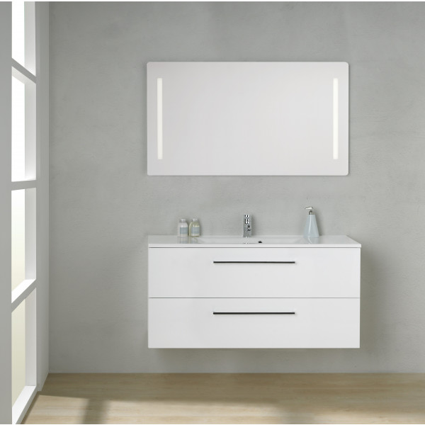 Scanbad Multo+ Skuffeskab med Mikado vask og 2 metalskuffer - 120 x 59,6 x 44 cm - Inkl. spejl med 2 LED lyszoner med lysstyring
