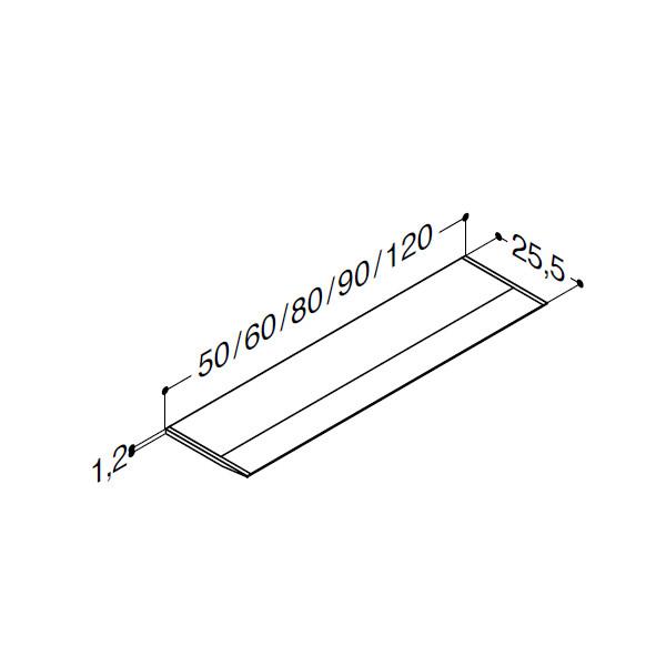 Scanbad lyspanel i akryl til spejlskab uden lys - stregtegning