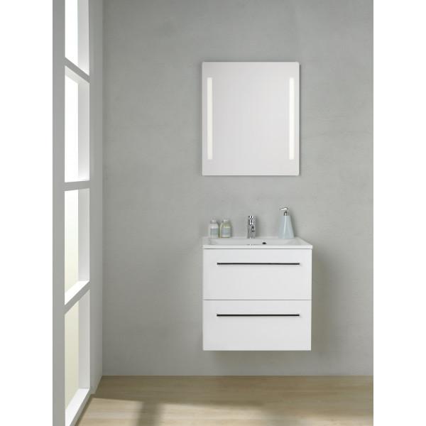 Scanbad Multo+ Skuffeskab med Mikado vask og 2 metalskuffer - 60 x 59,6 x 44 cm - Inkl. spejl med 2 LED lyszoner med lysstyring