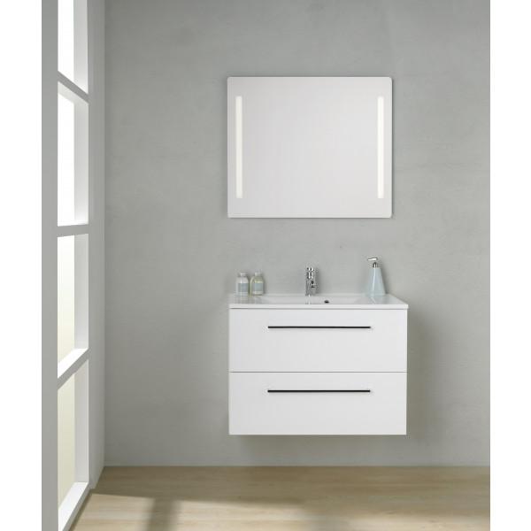 Scanbad Multo+ Skuffeskab med Mikado vask og 2 metalskuffer - 80 x 59,6 x 44 cm - Inkl. spejl med 2 LED lyszoner med lysstyring