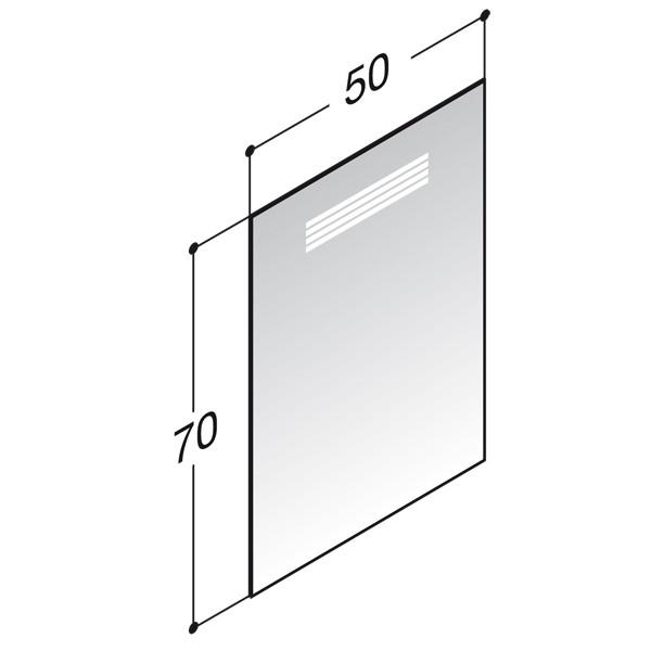 Scanbad spejl med integreret LED belysning - 50 x 70 cm