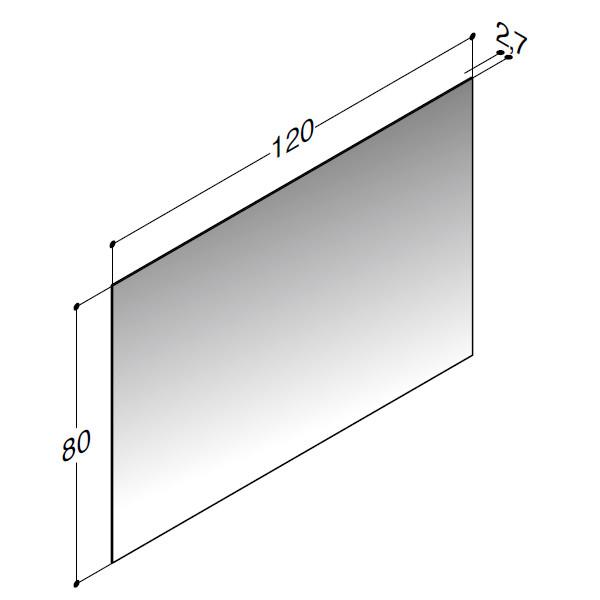 Scanbad spejl uden belysning - 120 x 80 cm - stregtegning