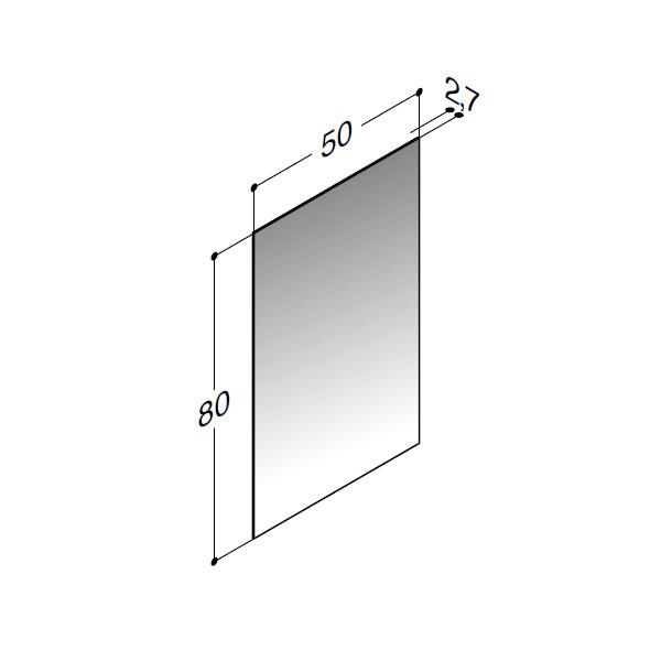 Scanbad spejl uden belysning - 50 x 80 cm - Inkl. lysstyring