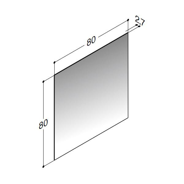 Scanbad spejl uden belysning - 80 x 80 cm - stregtegning