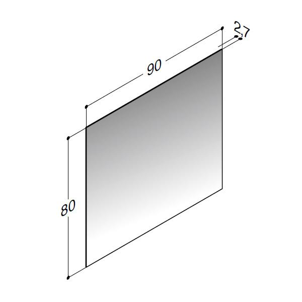 Scanbad spejl uden belysning - 90 x 80 cm - stregtegning