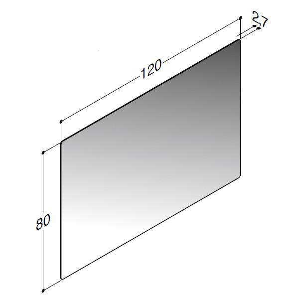 Scanbad spejl med afrundende hjørner uden lys - 120 x 80 cm