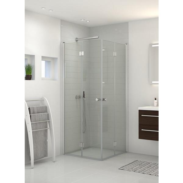 Scanbad Brusedøre med 2 lige foldedøre (180gr) i klarglas