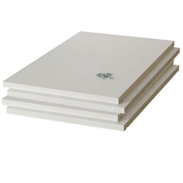 Hyldepakke med 4 stk 80 cm hylder i hvid melamin - Barebilligst