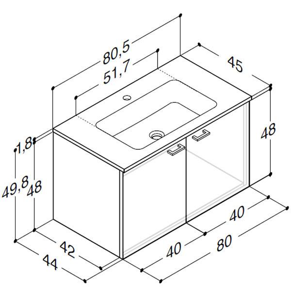 Scanbad Delta med Facet glaskeramik vask og låger - H 49,8 x B 80,5 x D 45 cm