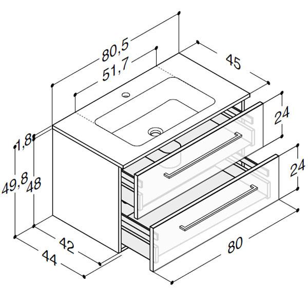Scanbad Delta med Facet glaskeramik vask og skuffer - H 49,8 x B 80,5 x D 45 cm