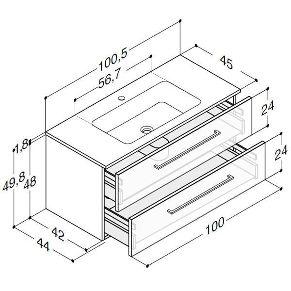 Scanbad Delta med Facet glaskeramik vask og skuffer - H 49,8 x B 100,5 x D 45 cm