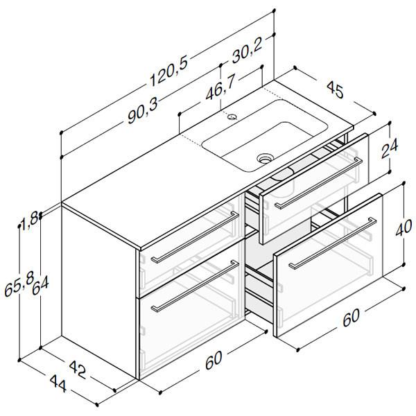 Scanbad Delta med Facet glaskeramik højre vask og skuffer - H 65,8 x B 120,5 x D 45 cm