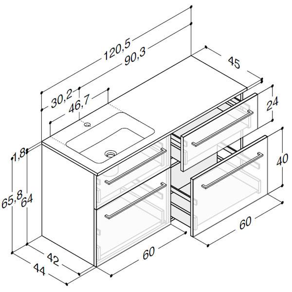 Scanbad Delta med Facet glaskeramik venstre vask og skuffer - H 65,8 x B 120,5 x D 45 cm