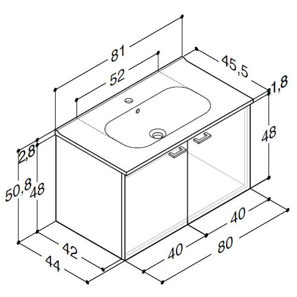 anbad Delta med Karat porcelænsvask og låger - H 50,8 x B 81 x D 45,5 cm