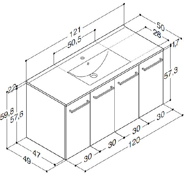 Scanbad Multo+ med Simone vask og 4 låger - 121 x 59,8 x 49 cm