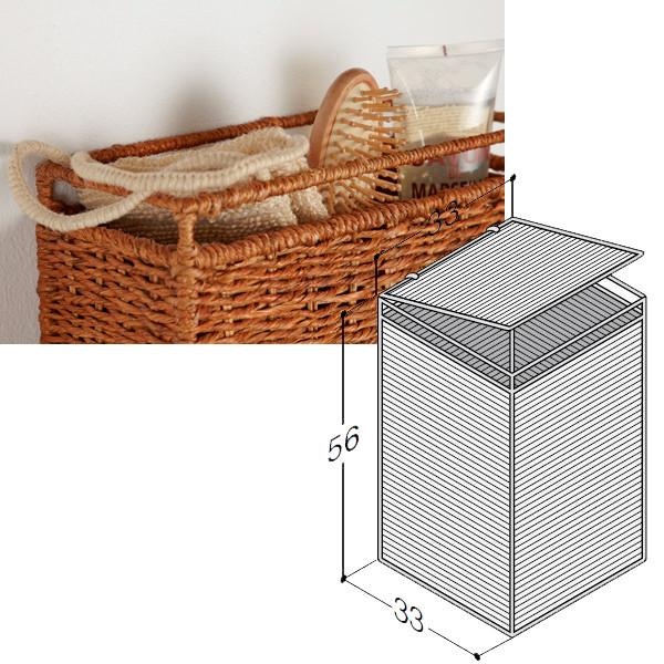 Scanbad flettet vasketøjskurv med låg - B:40 x H:58 x D:30 cm