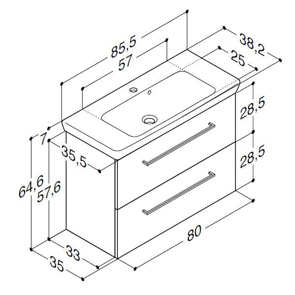 Scanbad Multo+ med Lotto vask og skuffer - 85,5 x 64,6 x 35 cm