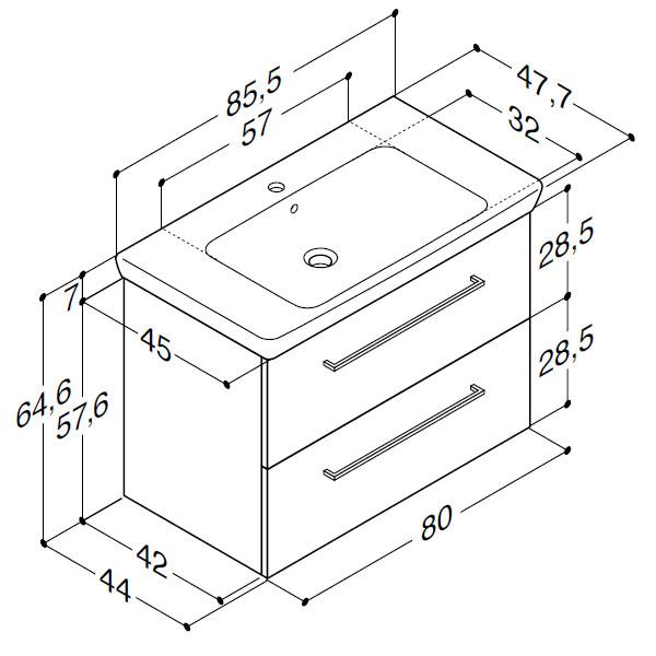 Scanbad Multo+ med Lotto XL vask og skuffer - 85,5 x 64,6 x 44 cm