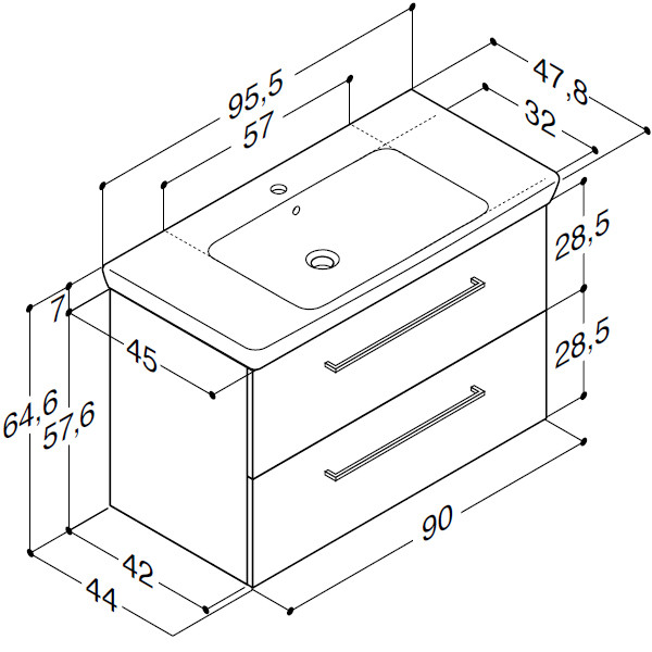 Scanbad Multo+ med Lotto XL vask og skuffer - 95,5cm