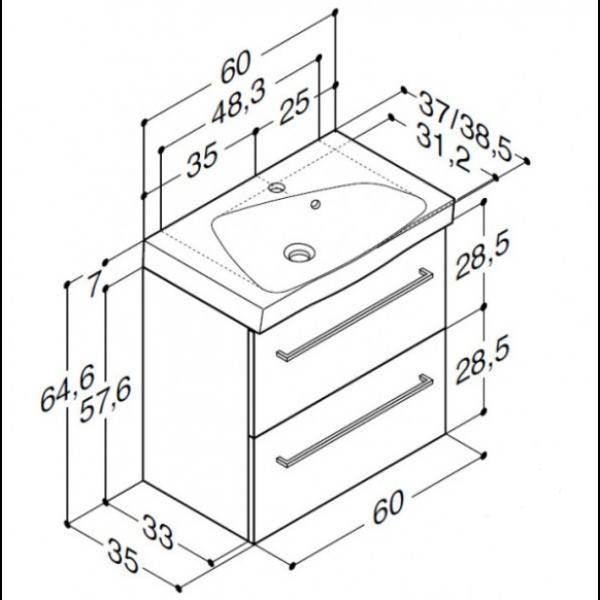 Scanbad Multo+ med Ludo vask og skuffer - 60 x 64,6 x 35 cm