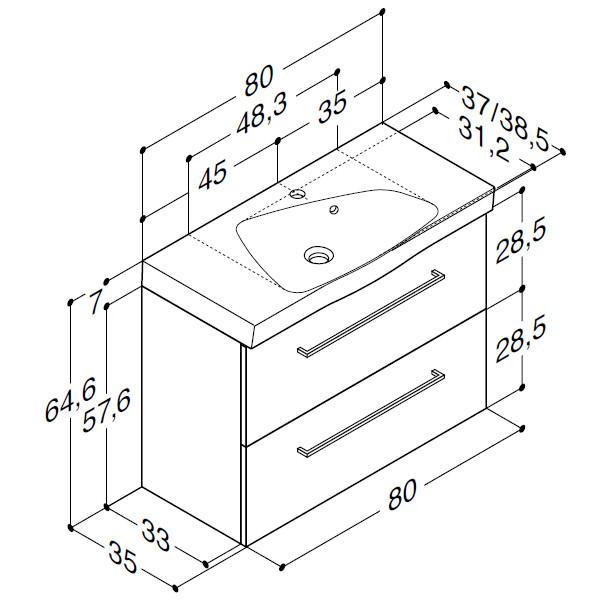 Scanbad Multo+ med Ludo vask og skuffer - 80 x 64,6 x 35 cm