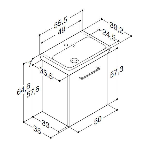 Scanbad Multo+ med Lotto vask og låge - 55,5 x 64,6 x 35 cm