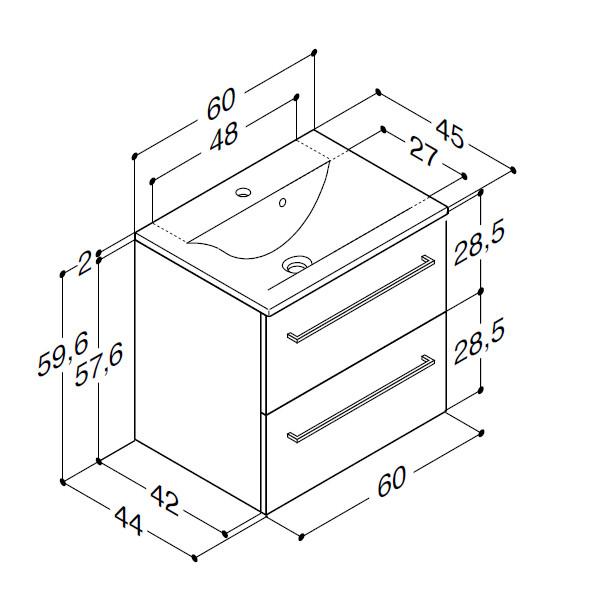 Scanbad Multo+ med Mikado vask og skuffer - 60 x 59,6 x 44 cm