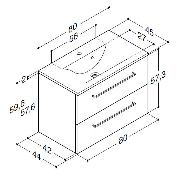 Scanbad Multo+ med Mikado vask og skuffer - 80 x 59,6 x 44 cm