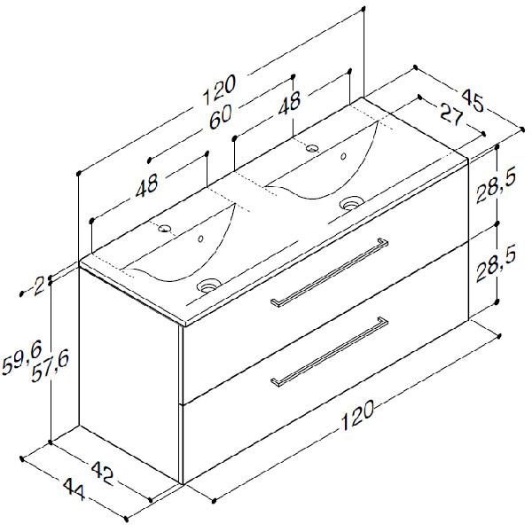 Scanbad Multo+ med Mikado dobbelt vask og 2 skuffer - 120 x 59,6 x 44 cm