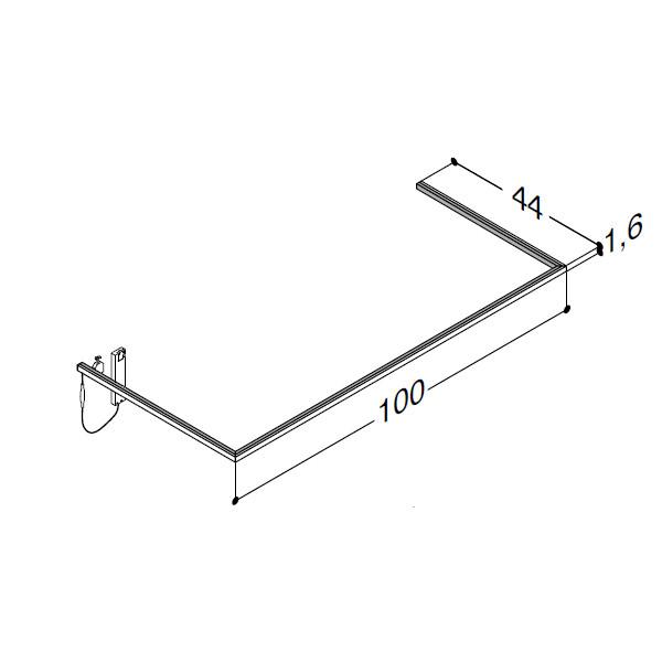 Scanbad lysliste under vask til 44 cm vaskeskab - 44 x 90 x 1,6 cm