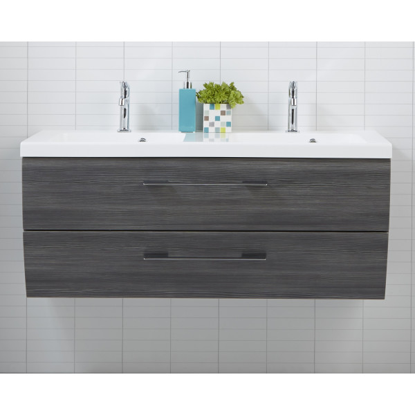 Scanbad Rumba Pine Grey med vask og skuffer 120cm