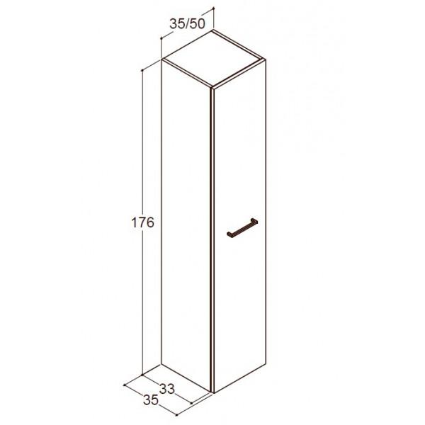 Scanbad Delta højskab låge og 3 bakker - H 176 x B 35 x D 35,1 cm