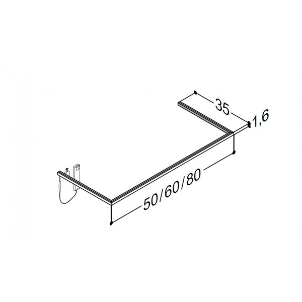 Scanbad lysliste under vask til 35 cm vaskeskab - 35 x 50 x 1,6 cm