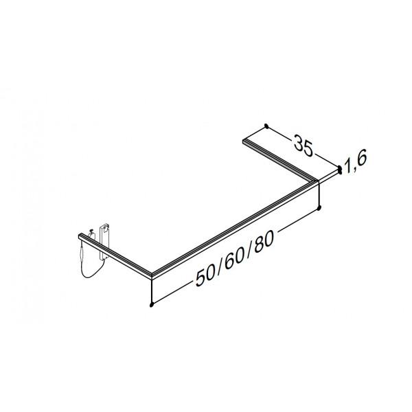 Scanbad lysliste under vask til 35 cm vaskeskab - 35 x 80 x 1,6 cm