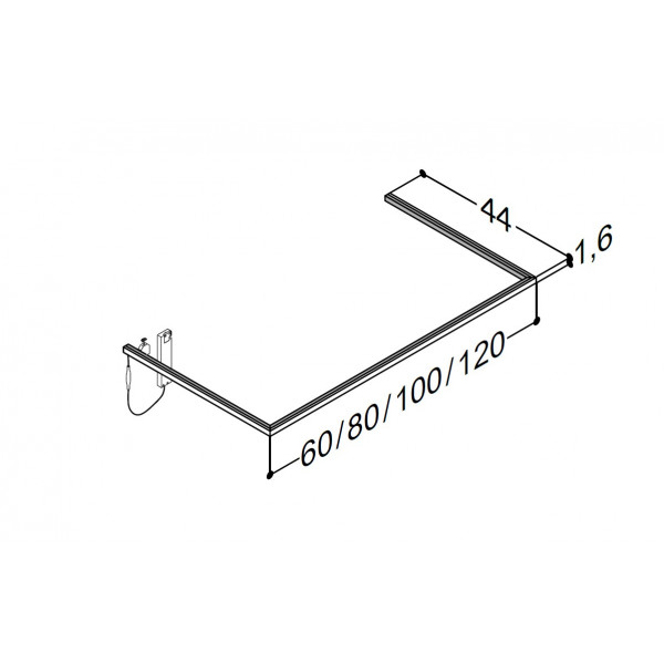 Scanbad lysliste under vask til 44 cm vaskeskab - 44 x 120 x 1,6 cm