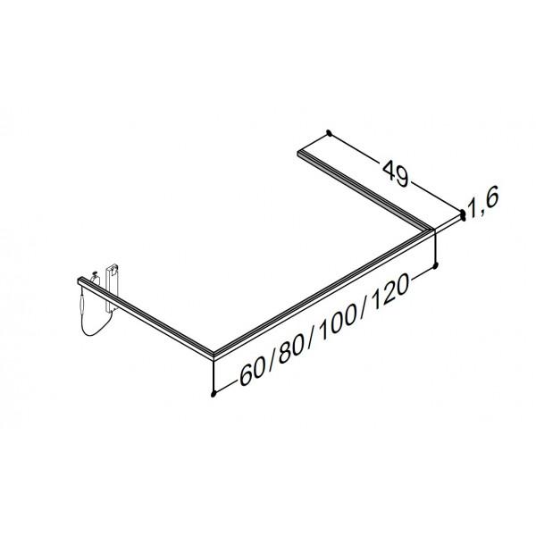 Scanbad lysliste under vask til 49 cm vaskeskab - 49 x 100 x 1,6 cm