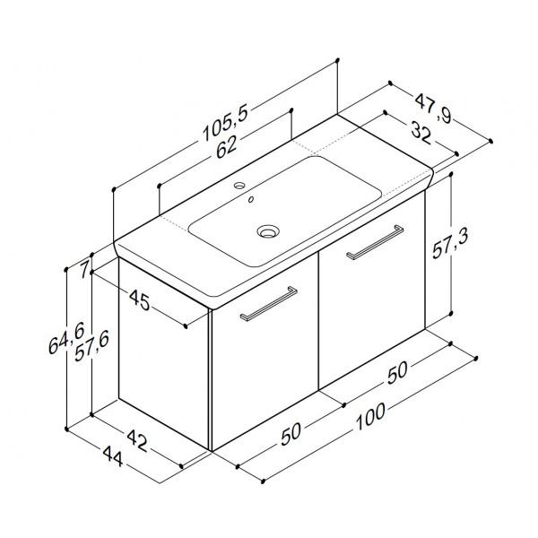 Scanbad Multo+ med Lotto XL vask og låger - 105,5 x 64,6 x 47,8 cm