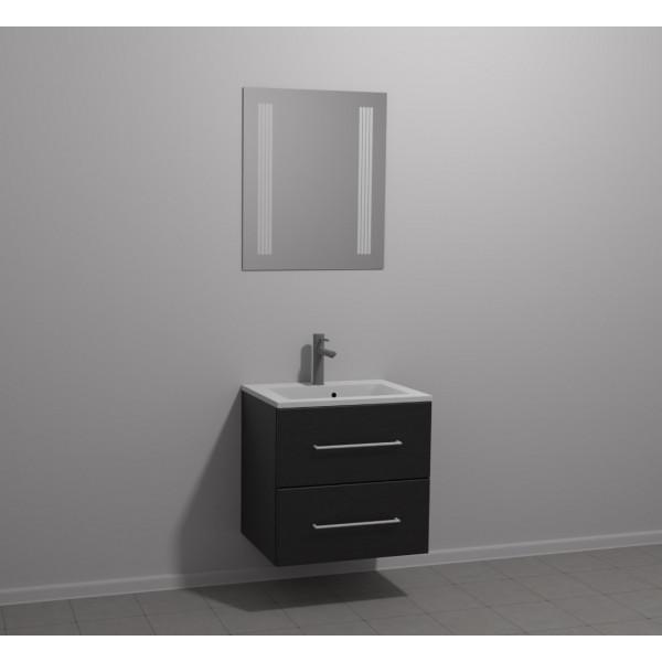 Scanbad Multo+ Skuffeskab med Mikado vask og 2 metalskuffer - Sort struktur - 60 x 59,6 x 44 cm - Inkl. spejl med 2 LED lyszoner med lysstyring