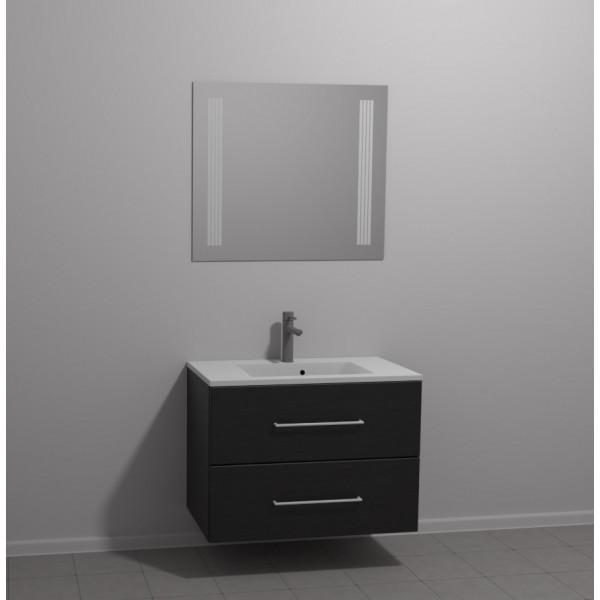 Scanbad Multo+ Skuffeskab med Mikado vask og 2 metalskuffer - Sort struktur - 80 x 59,6 x 44 cm - Inkl. spejl med 2 LED lyszoner med lysstyring