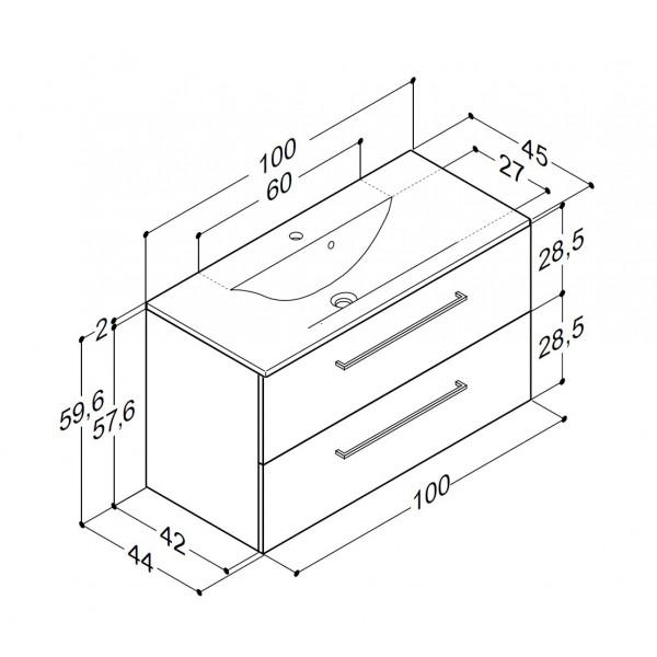Scanbad Multo+ med Mikado vask og skuffer - 100 x 59,6 x 44 cm