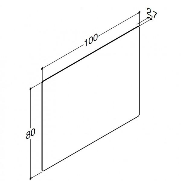 Scanbad spejl uden lamper til lysstyring 100cm bred og 80cm høj