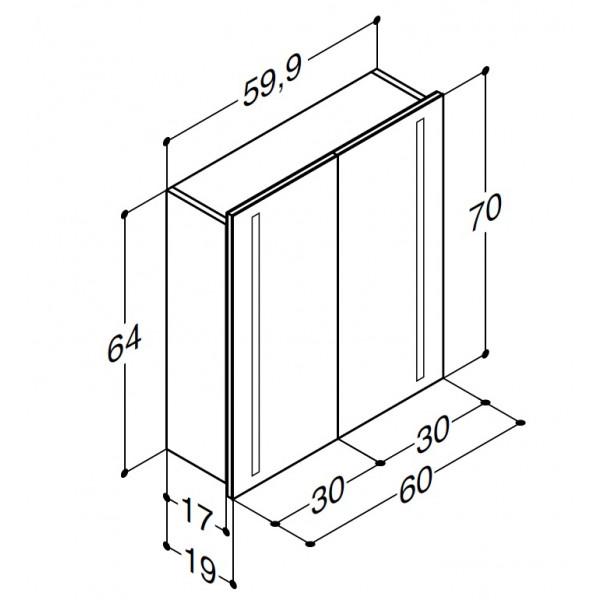 Scanbad spejlskab med integreret lys i lågerne - H 64 x B 59,9 x D 19 cm uden lysstyring