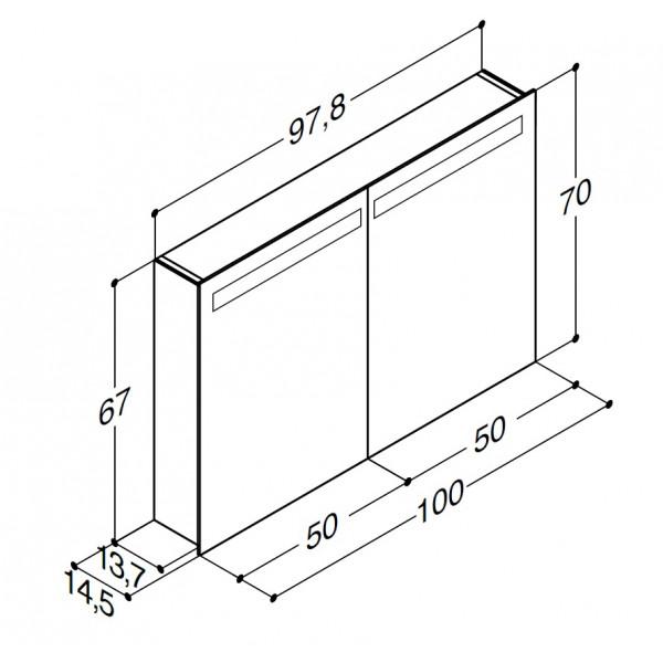 Scanbad spejlskab med integreret lys i lågerne - H 64 x B 119,9 x D 19 cm uden lysstyring