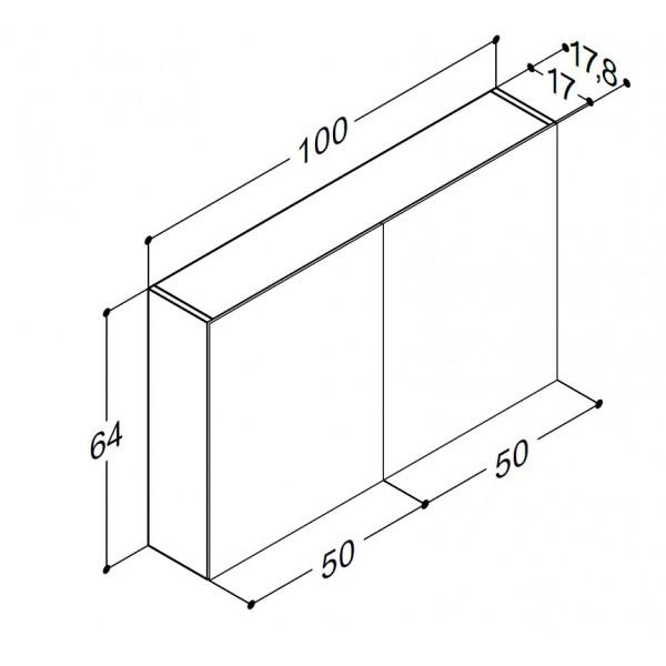 Scanbad spejlskabe uden belysning - 100 x 64 x 17,8 cm - Uden lysstyring