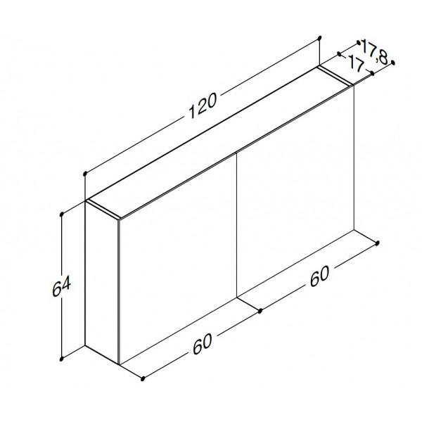 Scanbad spejlskabe uden belysning - 120 x 64 x 17,8 cm - Uden lysstyring