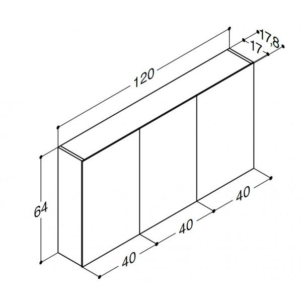 Scanbad spejlskabe uden belysning - 120 x 64 x 17,8 cm - Uden lysstyring med 3 låger