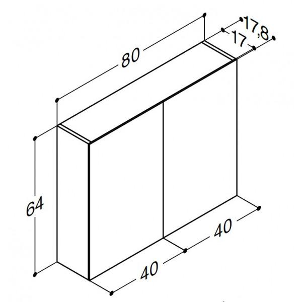 Scanbad spejlskabe uden belysning - 80 x 64 x 17,8 cm - Uden lysstyring