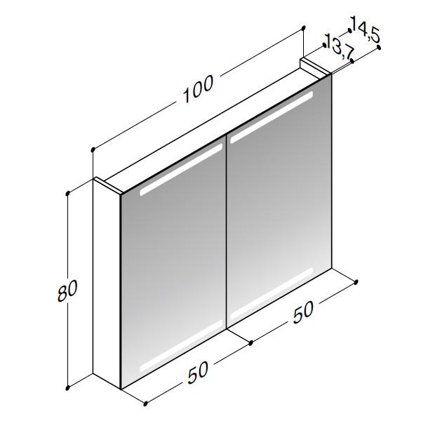Scanbad spejlskab med integreret lys i top og bund - H 80 x B 100 x D 14,5 cm Inkl. lysstyring