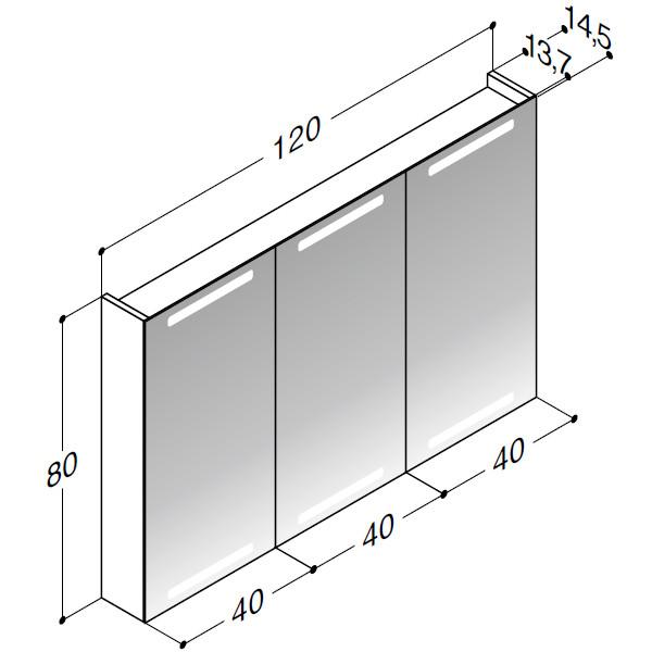 Scanbad spejlskab med integreret lys i top og bund - H 80 x B 120 x D 14,5 cm Inkl. lysstyring