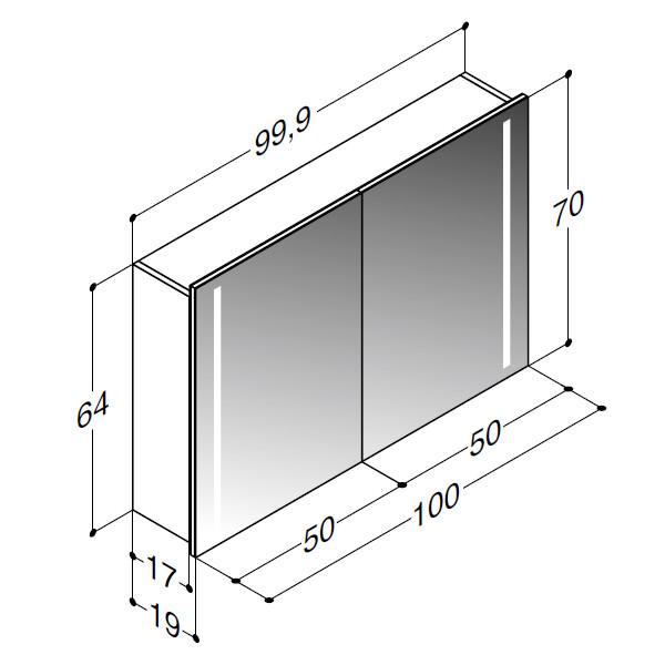 Scanbad spejlskab med integreret lys i siderne - H 64 x B 99,9 x D 19 cm Uden lysstyring